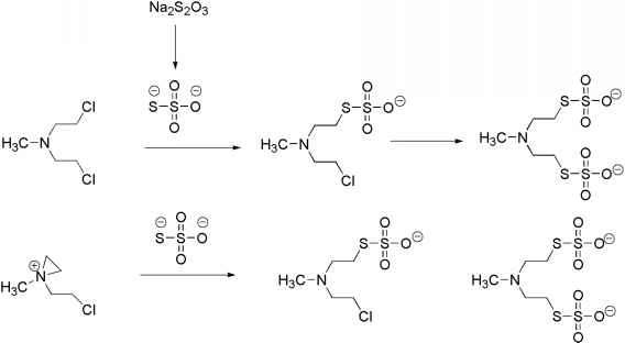 scheme 104 thiosulfate inactivation of mechlorethamine